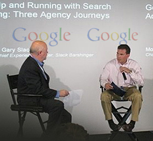 Scott LoSasso, President of LoSasso Advertising, answers questions from the audience and panel moderator Gary Slack of Slack Barshinger at Google offices in Chicago.