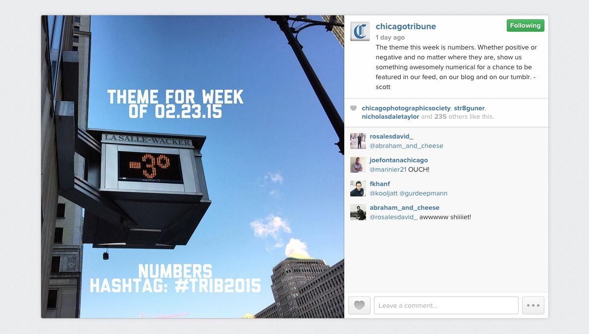 Chicago Tribune Instagram photo contest